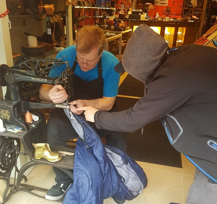 Homeless sleeping bag repair